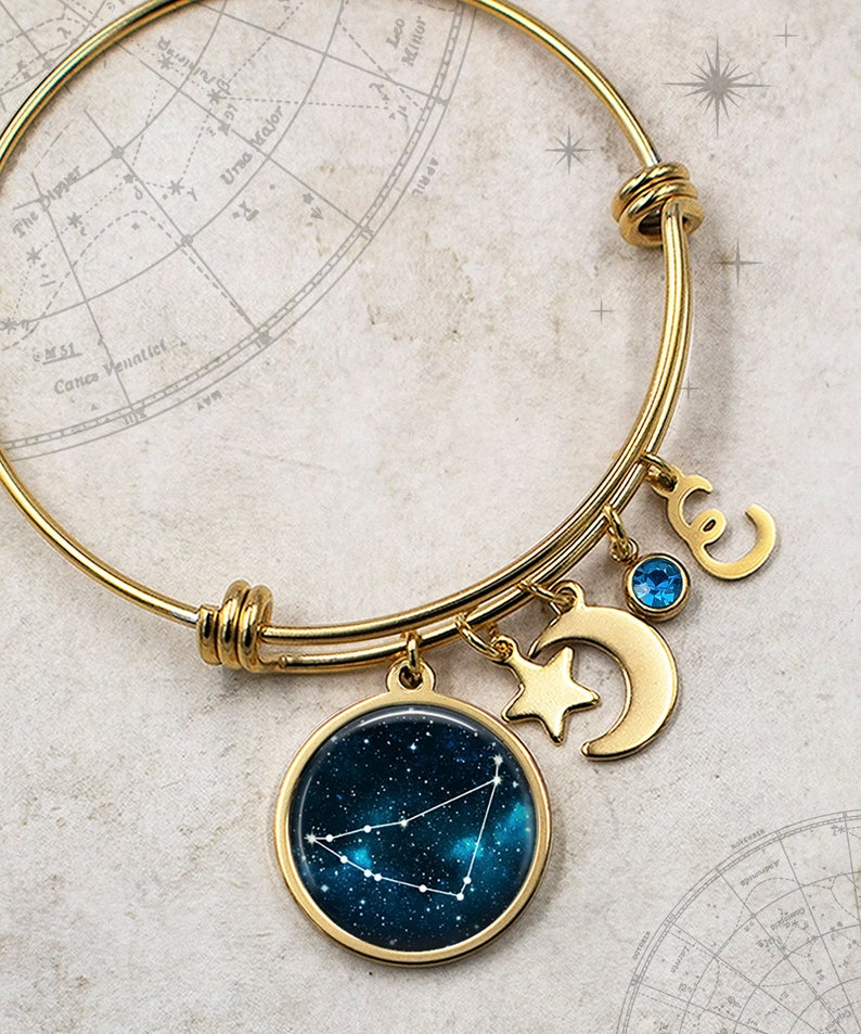 moon and star charm bracelet January birthday gift astrology gift personalized bracelet Capricorn Constellation Zodiac charm bracelet