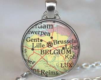 Belgium map pendant, Belgium map necklace, Belgium necklace, Belgium pendant, map jewelry keychain key chain key ring key fob