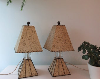 Pair of FIberglass Mid Century Real Vintage Lamps, Small Bedside Lamps, Complete Lamp and Shade Pair, Mid Century Atomic Lamps, Retro