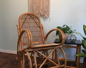 Unique Wicker and Rattan Rocking Chair 1970s Bohemian Wicker Nursery Jungle Theme Furniture