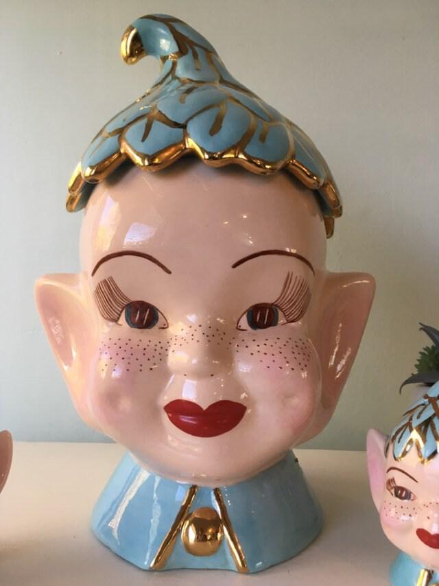 Vintage Pixie Cookie Jar, Elf Head Jar Ceramic Kitchen
