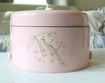 Pink Cake Plate/ Cake Carrier, Retro, Kitchen Decor