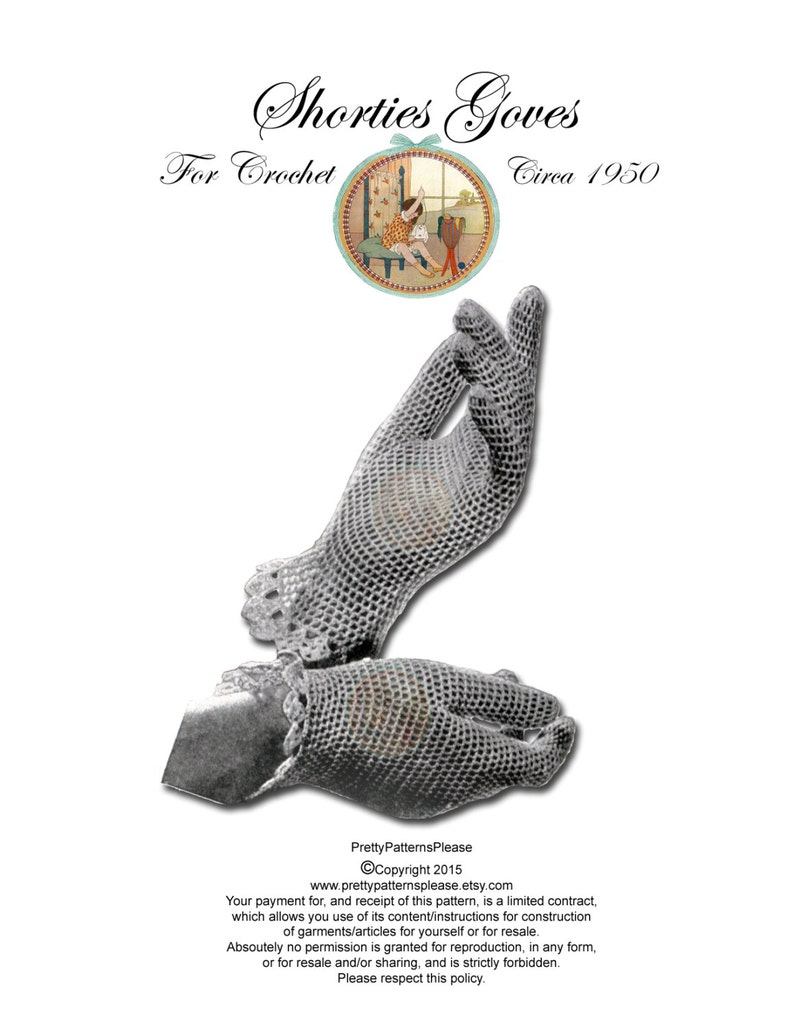 Vintage Digital Crochet Pattern  Women's Openwork Gloves image 0