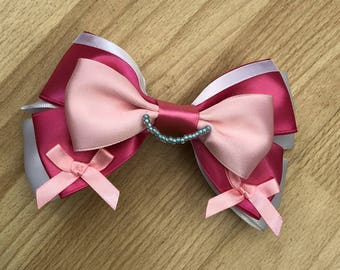 Disney Inspired Cinderelly Hair Bow with mini bows and necklace