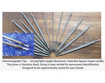 Kollage Interchangeable Needle Tips 3.5 inch Sizes US 2 - 11