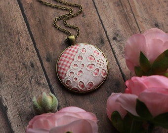 Pink Vintage Plaid Fabric And Lace Pendant, Cute Boho Jewelry For Women