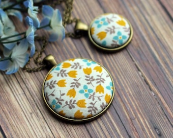 Tulip Necklace, Mustard Yellow Boho Jewelry, Small Or Large Floral Fabric Pendant