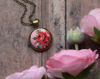 Red Rose Necklace, Cute Small Pendant, Boho Wedding, Pink Floral Fabric Recycled Jewelry