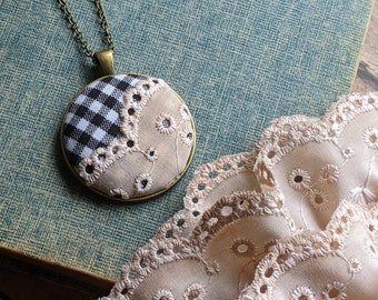 Black And White Classic Jewelry, Plaid Fabric Pendant With Beige Vintage Lace, Unique Gift For Her, Cottage Chic Jewelry, Boho Wedding