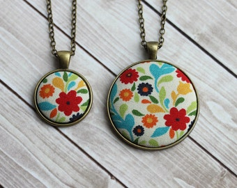 Colorful Retro Necklace, Boho Chic Summer Jewelry, Fun Groovy 70s Style, Cute Gift For Her, Floral Fabric Pendant, Red, Yellow, Blue, Orange