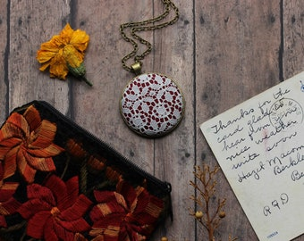 Geometric Lace Necklace, Burgundy Pendant, Red And White Floral Large Pendant, Art Deco Jewelry
