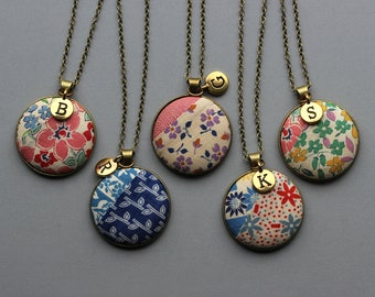 Personalized Gift For Her, Unique Letter Charm Initial Necklace, Vintage Quilt Jewelry, Floral Fabric Pendant