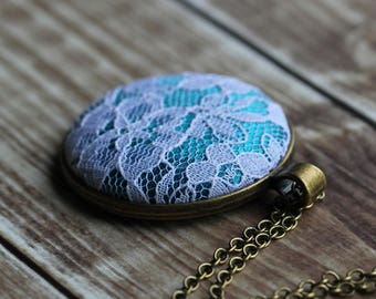 Teal Necklace, Unique Gift For Women, Mom, Teacher, Wife, Jewelry With Floral Lace Flower Pendant