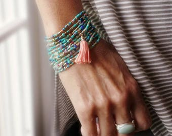 Turquoise, Sage, Cobalt and more - Long Seed Bead Strand  - Wear as Necklace Bracelet or Anklet