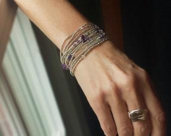 Amethyst and Silver February Birthstone Bracelet