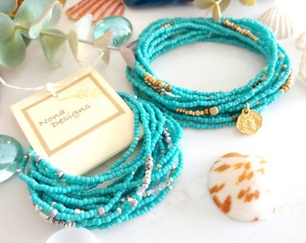 Turquoise Seed Bead Wrap Bracelet - Silver or Gold