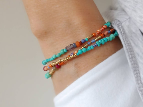 Southwest Iolite Beaded Wrap Bracelet with Turquoise, Garnet, Labradorite and more