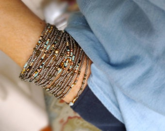 Gunmetal and Turquoise Long Seed Bead Wrap Bracelet or Necklace