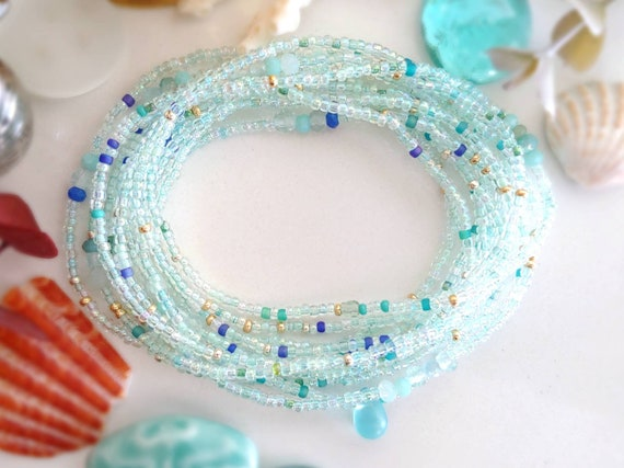 Details about  /Orange And Blue Sea Glass Beaded Braclet