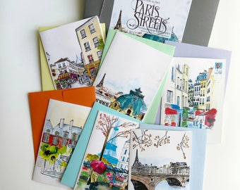 12 notecards: Paris Street Notecard Set, Paris watercolor, Paris Letters, A Paris Year, French Stationery, Best selling cards