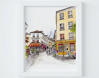 Paris Letter Montmartre Print, sent FLAT by Janice MacLeod, author of Paris Letters