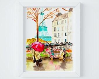Paris Letter Market Print, sent FLAT by Janice MacLeod, author of Paris Letters