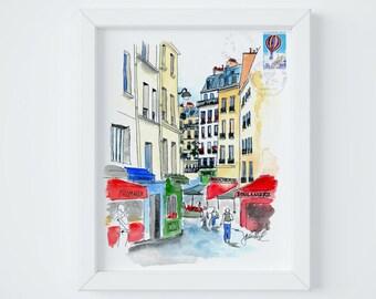 Paris Letter Street Print, sent FLAT by Janice MacLeod, author of Paris Letters