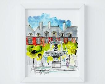 Paris Letter Place des Vosges Print, sent FLAT by Janice MacLeod, author of Paris Letters