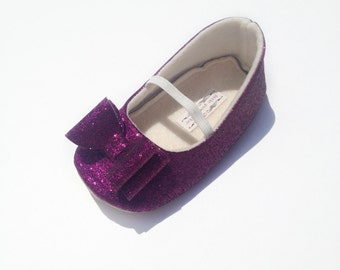 Toddler Girl Shoes Baby Girl Shoes Soft Soled Shoes Purple Wedding Shoes  Flower Girl Shoes Plum Glitter Shoes Plum Glitter Shoes   Eloise