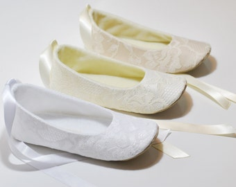 Ivory or White or Nude Lace Ballet Slippers - Flower Girl Shoes - Baby Shoes - Toddler Girl Shoes - Christening - Baptism - LAYLA