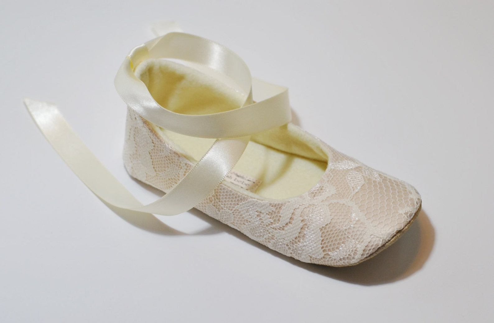 ivory or white or nude lace ballet slippers - flower girl shoes - baby shoes - toddler girl shoes - christening - baptism - layl