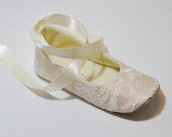 Toddler Girl Shoes Baby Girl Shoes Couture Baby Shoes Nude Flower Girl Shoes Lace Couture Ballet Slipper Flower Girl Ballet Flat- LAYLA