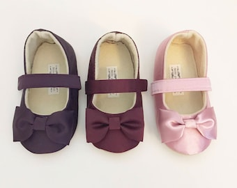 Baby Girl Shoes Toddler Girl Shoes Soft Soled Shoes Wedding Shoes Plum shoes Burgendy shoes Wine Shoes Mauve Shoes Flower Girl Shoes  - Ever