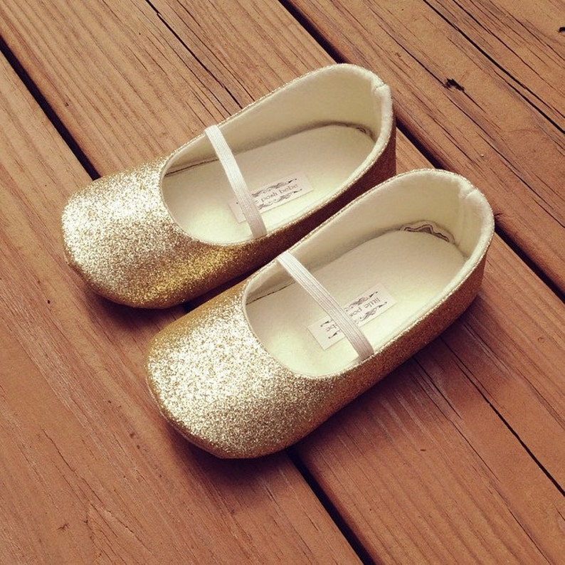3a733a13f1bc Girls Glitter Shoes GOLD Glitter mary-jane Flower Girl