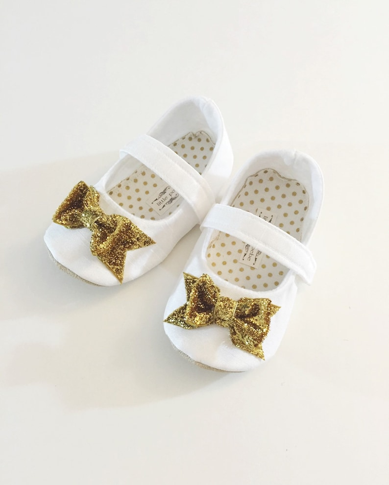9500afe0a442e Baby Girl Shoes Toddler Girl Shoes Infant Shoes Soft Soled Shoes Flower  Girl Shoes Birthday Girl Shoes WHITE Gold Bow Shoes - Belle
