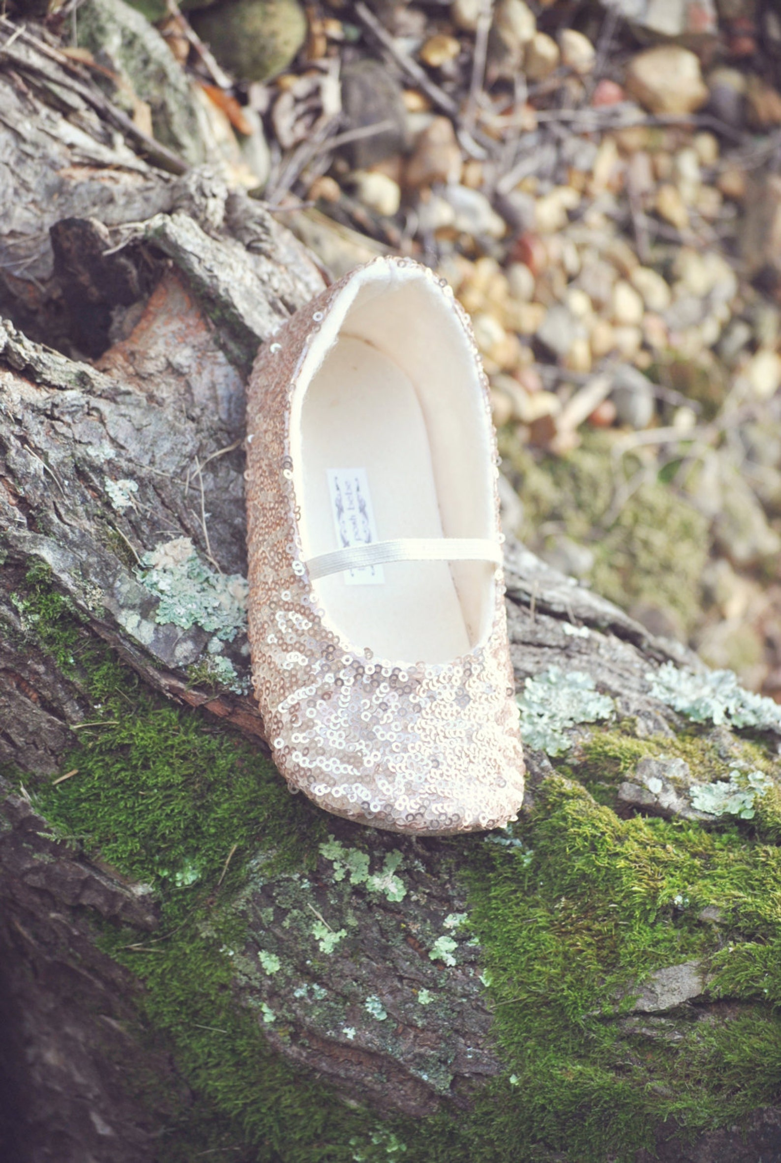 rose gold sequined ballet slippers - flower girl shoes - baby shoes - toddler girl shoes - christening - baptism- vintage chic -