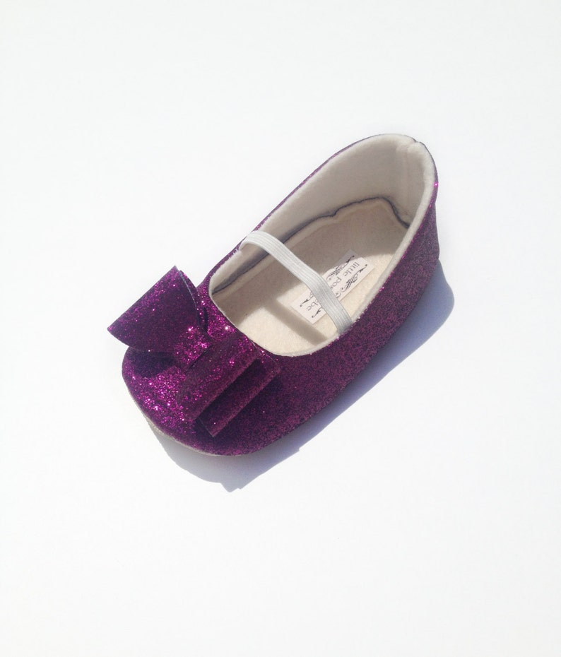 87efe46aee Toddler Girl Shoes Baby Girl Shoes Soft Soled Shoes Purple Wedding Shoes  Flower Girl Shoes Plum Glitter Shoes Plum Glitter Shoes - Eloise