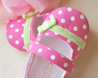 Baby Girl Shoes Toddler Girl Shoes Infant Shoes Soft Soled Shoes Wedding Shoes Flower Girl Shoes Hot Pink Birthday Shoes Summer Shoes -Lola