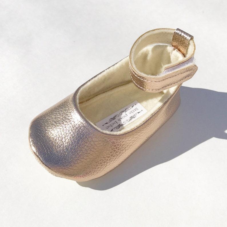 39f35e950d16 Metallic Rose Gold Toddler Girl Shoes Baby Girl Shoes Metallic