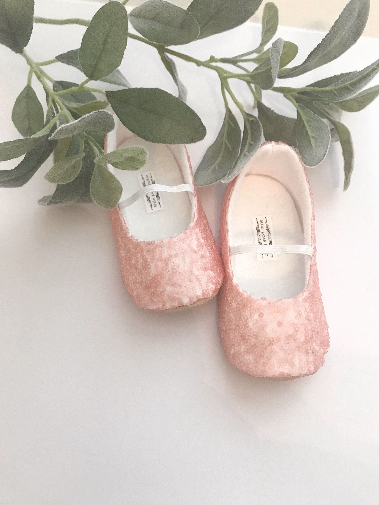 blush sequined ballet slippers - flower girl shoes - baby shoes - toddler girl shoes - christening - baptism- vintage chic - ara