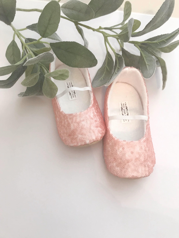 Blush Sequined Ballet Slippers Flower Girl Shoes Baby Etsy