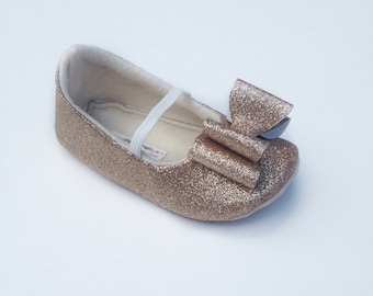 Toddler Girl Shoes Baby Girl Shoes Soft Soled Shoes Wedding Shoes Flower Girl Shoes Glitter Shoes Glitter Champagne Shoes  - Eloise