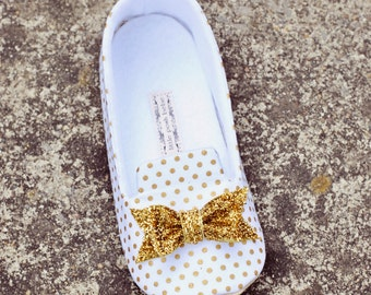 Baby Girl Loafers Toddler Girl Shoes Soft Soled Baby Loafers Bow Girl Loafers Gold Metallic Polka Dot Loafers Glitter Bow Shoes - Wren