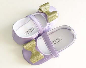Baby Girl Shoes Toddler Girl Shoes Soft Soled Shoes Wedding Shoes Lavender Satin Shoes gold glitter bow Flower Girl Shoes Lavender  - Eloise