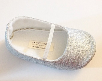 Toddler Girl Shoes Baby Girl Shoes Soft Soled Shoes Wedding Shoes Flower Girl Shoes Glitter Shoes Glitter Silver Shoes  - Eloise