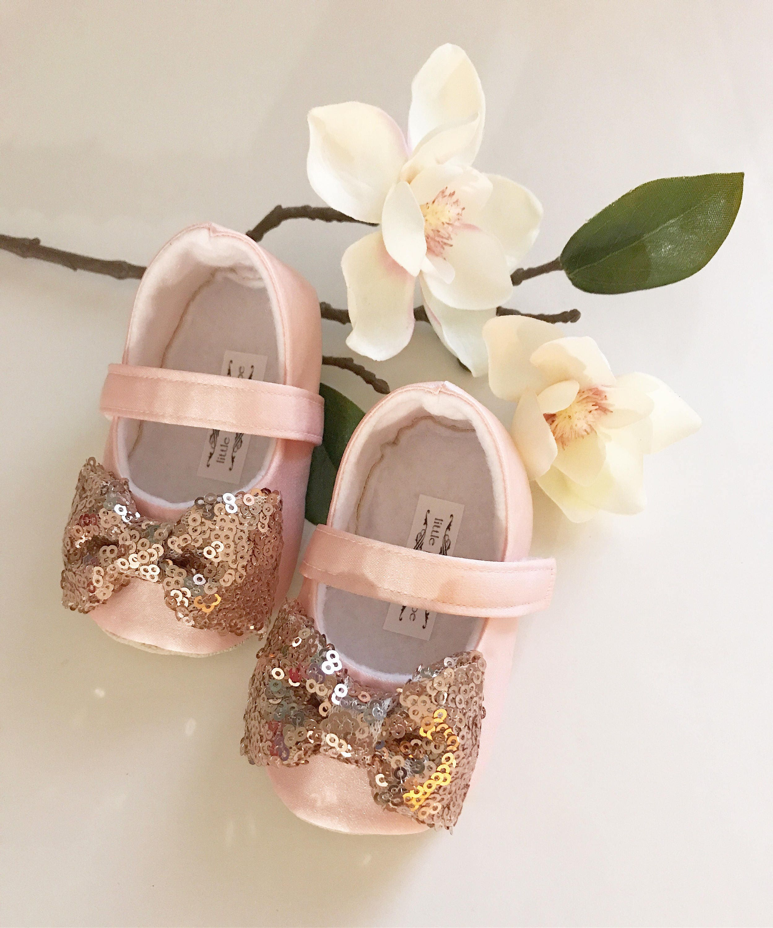 Blush Shoes With Rose Gold Bow Toddler Girl Shoes Baby Girl Etsy