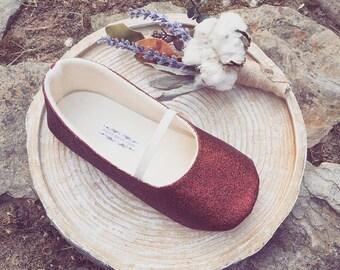 Dark Red Glitter Toddler Girl Shoes Baby Girl Shoes Soft Soled Shoes Flower Girl Shoes Glitter Shoes Glitter Red Shoes  - Eloise