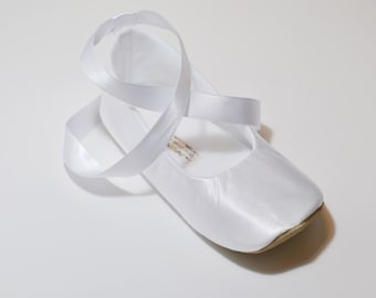 Toddler Girl Shoes Baby Girl Shoes Couture Baby Shoes White Flower Girl Shoes Couture Ballet Slipper Flower Girl Ballet Flat - JANE