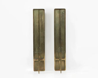Mid Century Modern Candle Sconce Pair With Bronze Finish
