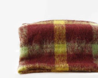 Creagaran Mohair Blanket with Fringe, Vintage Wool Throw Blanket, Plaid Wool Blanket, Made in Scotland